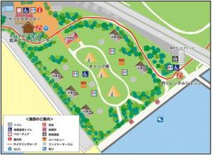 若洲公園のキャンプ場全体図