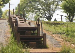 昭和の森のアスレチックのウッドクライム
