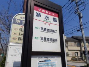 東京スタジアムの浄水場バス停