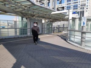 東京テレポート駅の歩道橋の階段とエレベータ